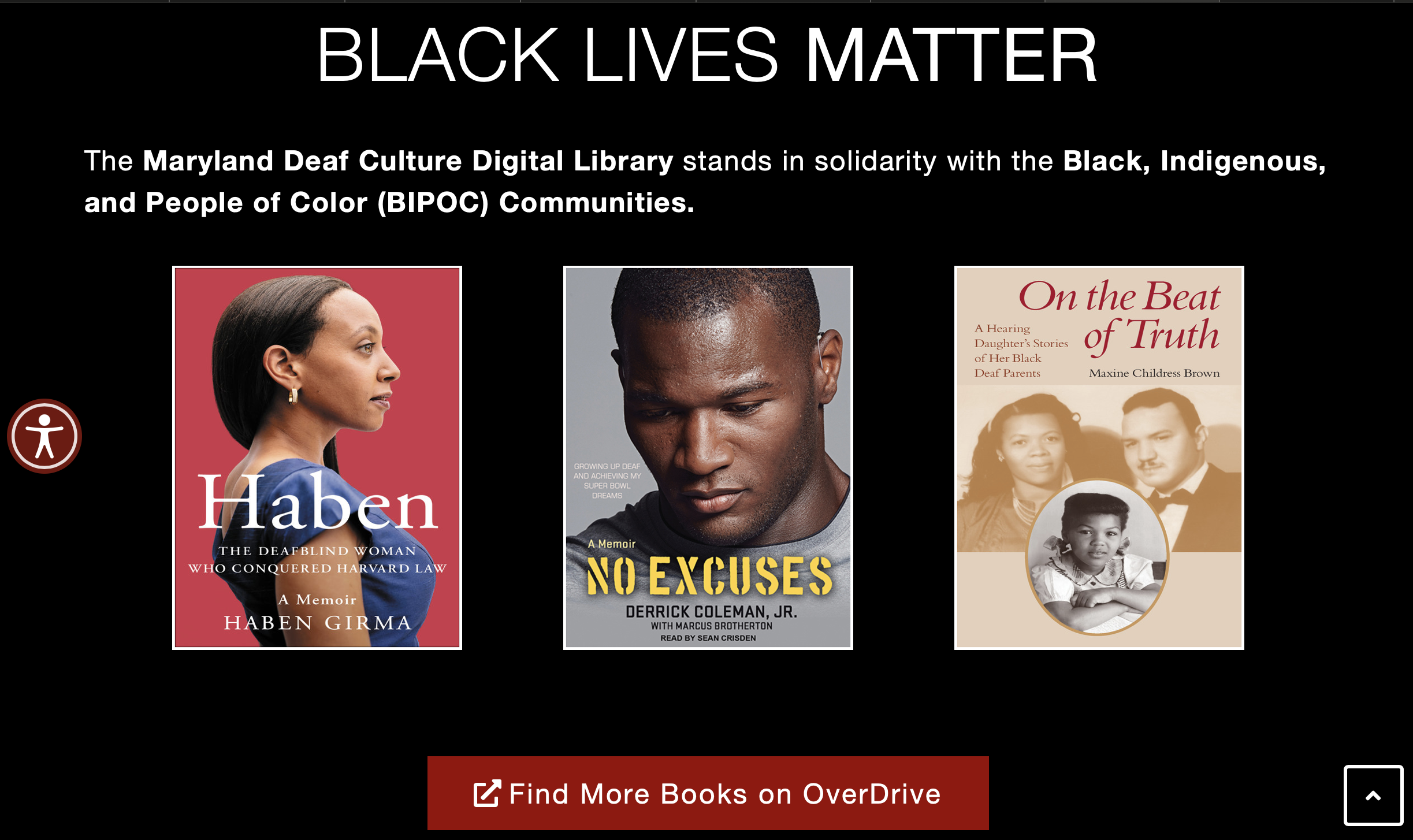 a screen shot of solid black background image with 3 books in 3 columns: Haben; No Excuses; On the Beat of Truth with the headline Black Lives Matter and text below.