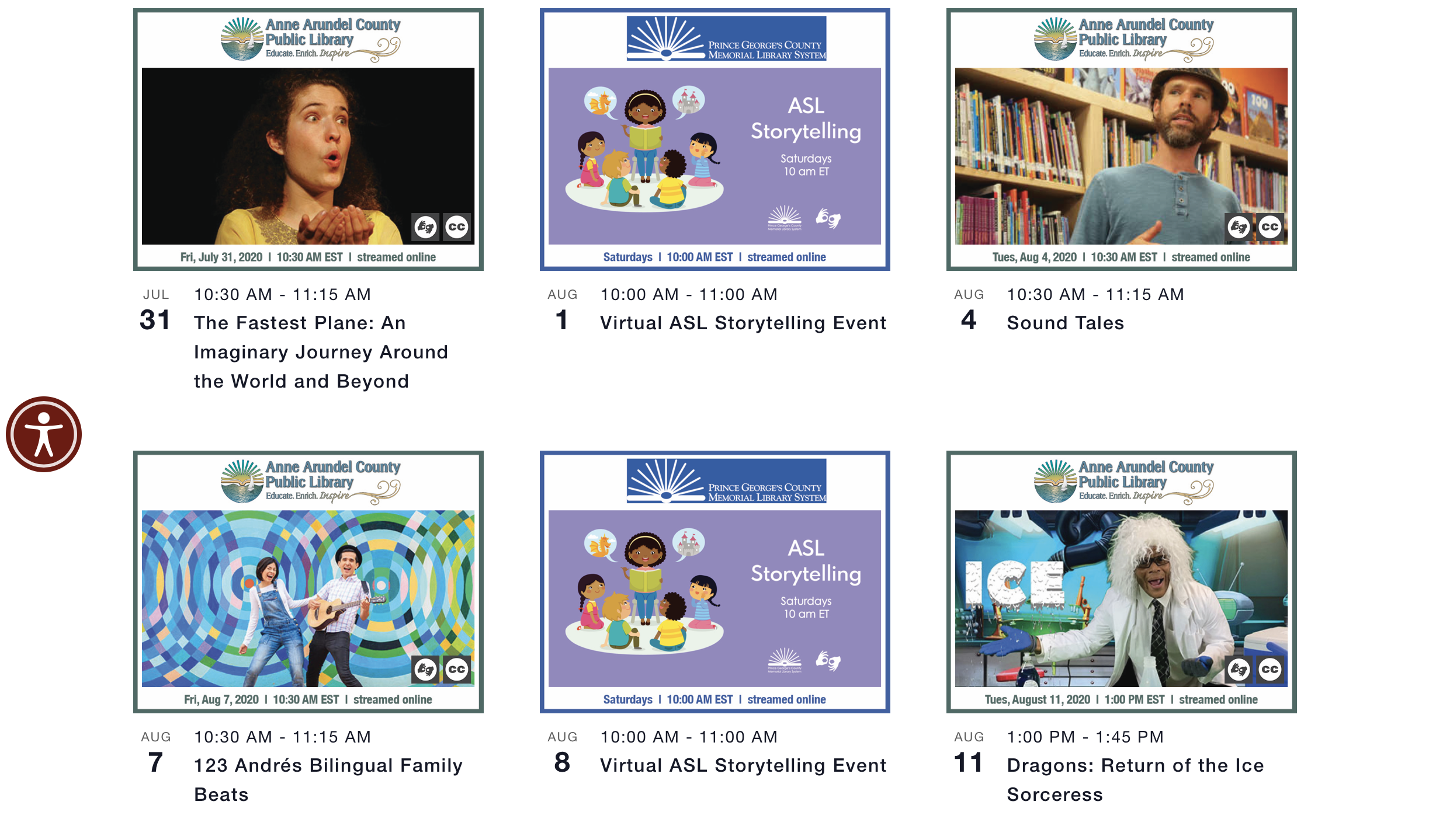 a screenshot of 6 calendar events with various images in a 3 column design with event dates and titles in smaller text below images
